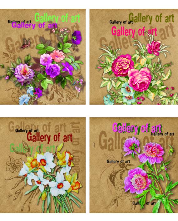 Тетрадь общая 48 листов, Крафт цветы